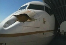 ตะลึง หัวเครื่องบินถูกนกพุ่งชนจนเป็นรูขนาดใหญ่ขณะเตรียมลงรันเวย์