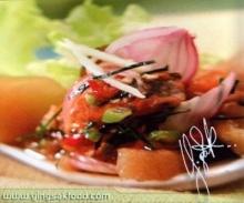ยำหอยแมลงภู่ดองกับผักผสมดองเค็ม