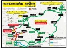 แผนที่แสดงเส้นทางเลี่ยงภาคอีสาน 4/11/2554