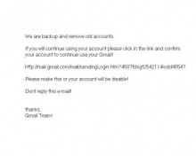 เตือน Phishing mail หลอกให้คอนเฟิร์ม gmail