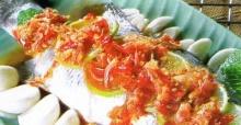 ปลากระพงขาวนึ่งพริกมะนาว