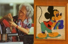 ฝีพระหัตถ์สมเด็จย่า ผ้าปักรูปมิกกี้เม้าส์ ทรงเคยทำถวายรัชกาลที่ 9