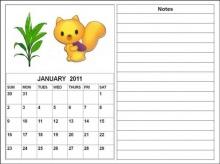 Cute Cartoon Calendars Planners 2011