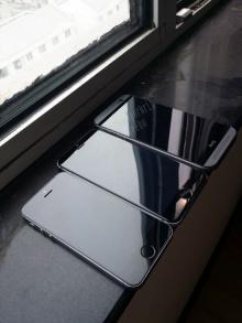 าพชัดๆ iPhone 6 สีเทาเงินเปรียบเทียบกับ iPhone 5s และ HTC One M8!