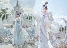 สวยเป๊ะเวอร์!!! สาวจีนสวมชุดฮั่นฝู ถ่ายแบบที่วัดร่องขุน