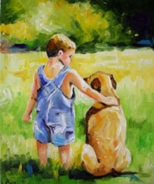เด็กน้อยกับหมาตัวเล็ก ๆ