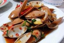 หอยลายผัดน้ำพริกเผา (ไมโครเวฟ)