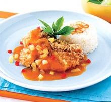 ปลาทอดซอสส้ม สับปะรด