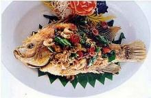 ปลาทับทิมราดสมุนไพร