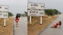 แชร์ว่อน!! ภาพสาวโพสต์ท่าโชว์สยิวตามป้ายริมถนนสายตาก-ลำปาง