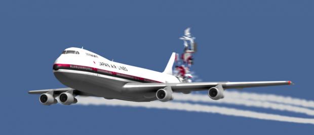 ภาพวาดเครื่องบิน JL123 ก่อนที่จะสูญเสียแพนหางดิ่ง